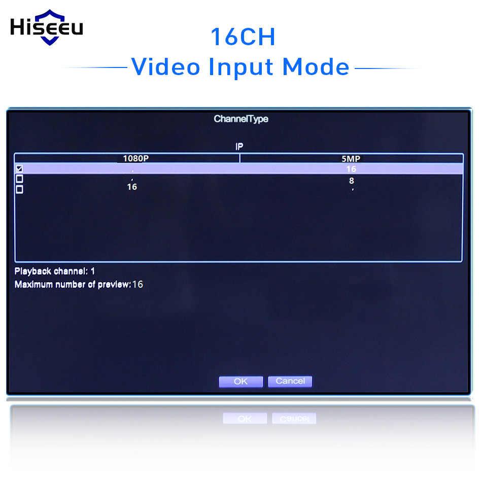 Hiseeu H.265 Video Surveillance NVR Recorder 8CH 16CH 5MP 4MP 2MP Output Bewegingsdetectie ONVIF Recorder voor IP Camera Metalen case