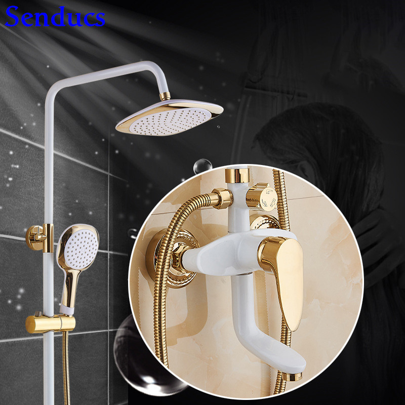 Senducs Intelligent White Gold Shower Set 8 Inch Rain Shower Head Quality Brass Bathtub Shower Faucet Newly White Shower SystemSenducs Intelligent White Gold Shower Set 8 Inch Rain Shower Head Quality Brass Bathtub Shower Faucet Newly White Shower System