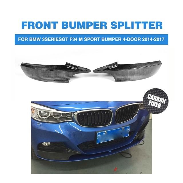 Carbon Fiber front bumper Lip splitters Spoiler for BMW 3 Series GT F34 M Sport Bumper 4-Door 2014-2017 2PCs/Set
