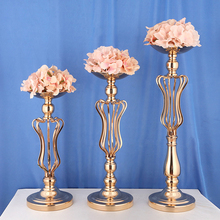 Europe Creative Flowers Vases Candle Holders Road Lead Table Centerpiece iron Stand Pillar Candlestick For Wedding Candelabra