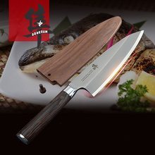 Free Shipping LD Stainless Steel Kitchen Sashimi Salmon Knife Chef Raw Fish Fillet Knife Sashayed Cooking knives For Gift