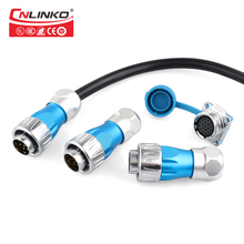 Cnlinko Metal Shell Medical Ship Car Electrical Plug Sockets IP67 Industrial Connector 10 Pin 10A 500V Waterproof M24 Connector