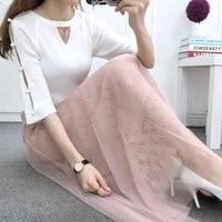 Của phụ nữ Cô Gái váy váy 2018 Mới đàn hồi eo gạc chắp váy ren