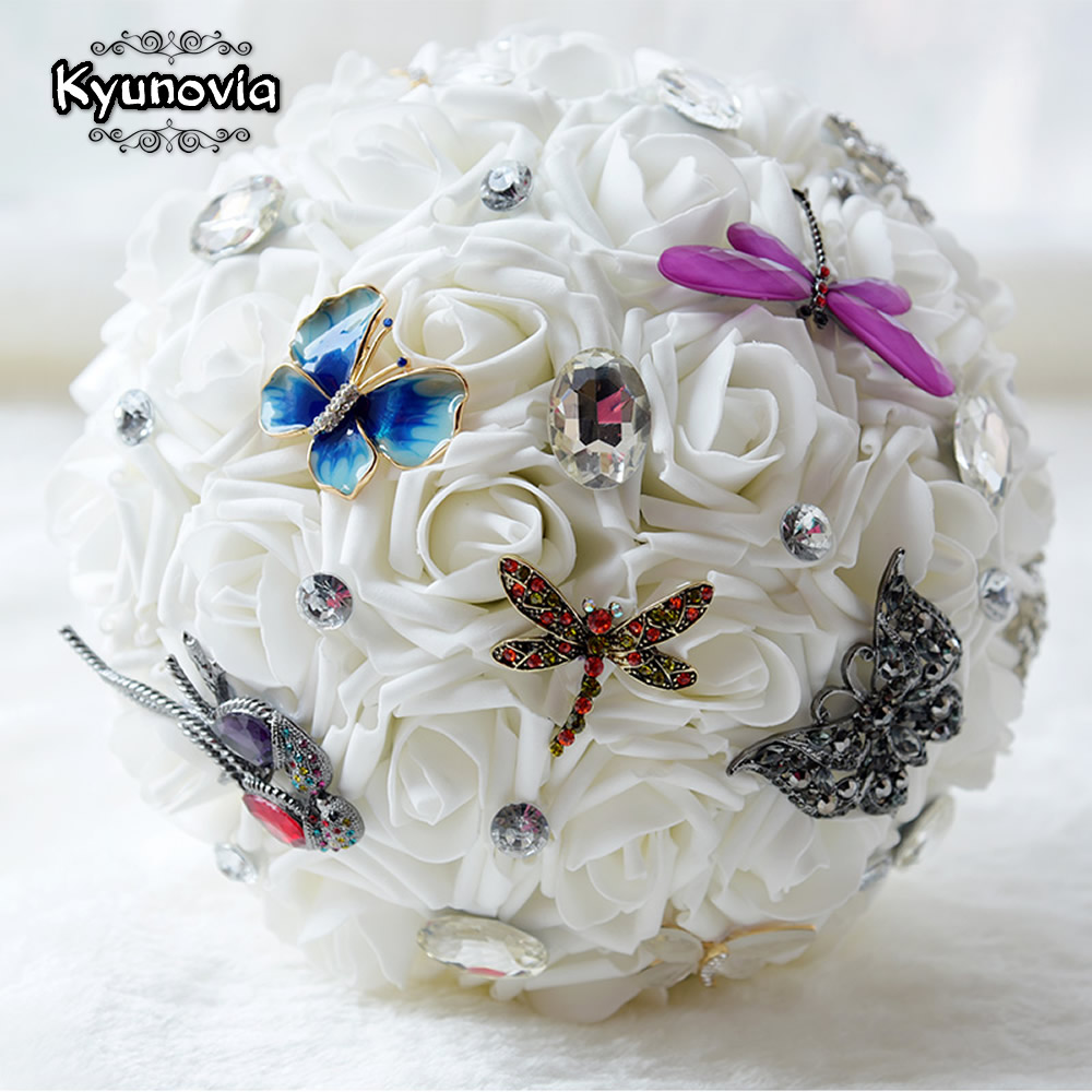 Kyunovia retro style butterfly dragonfly brooches bouquet wedding kyunovia retro style butterfly dragonfly brooches bouquet wedding bridal bouquet rhinestones pe foam roses wedding flowers fe32 in wedding bouquets from izmirmasajfo