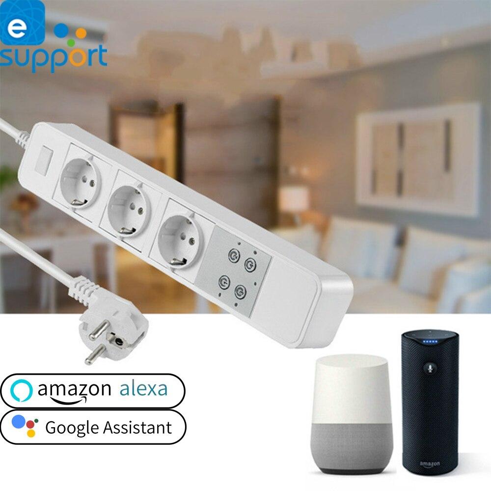 Ewelink WiFi interrupteur prises intelligentes multiprise minuterie pour Alexa Google domotique EU UK prise 3 prises télécommande
