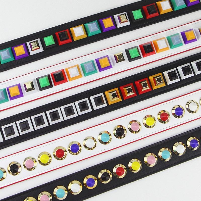 Colorful Rivet Leather Women Bag Strap Shoulder Bag Accessories Belts Famous Brand Strap Replacement Strap For Handbag Kz151302