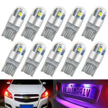 10pcs Car Light T10 LED 2SMD 3030 Marker Lamp W5W WY5W 192 168 501 Tail interior Side Bulb Wedge Parking Dome Light Auto Styling
