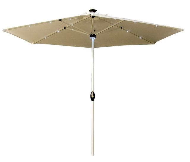 Abba Patio Aluminum 9 Foot Solar Powered Patio Umbrella With Pole Light U0026  18 LED
