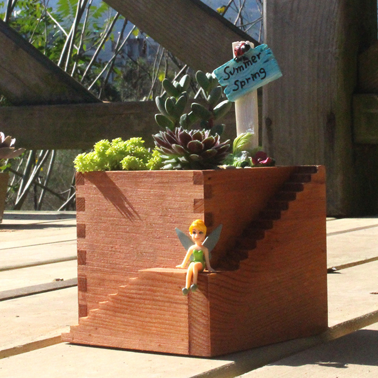 Vintage Succulent Plants Square Pot Garden Handmade Planting Flower Box