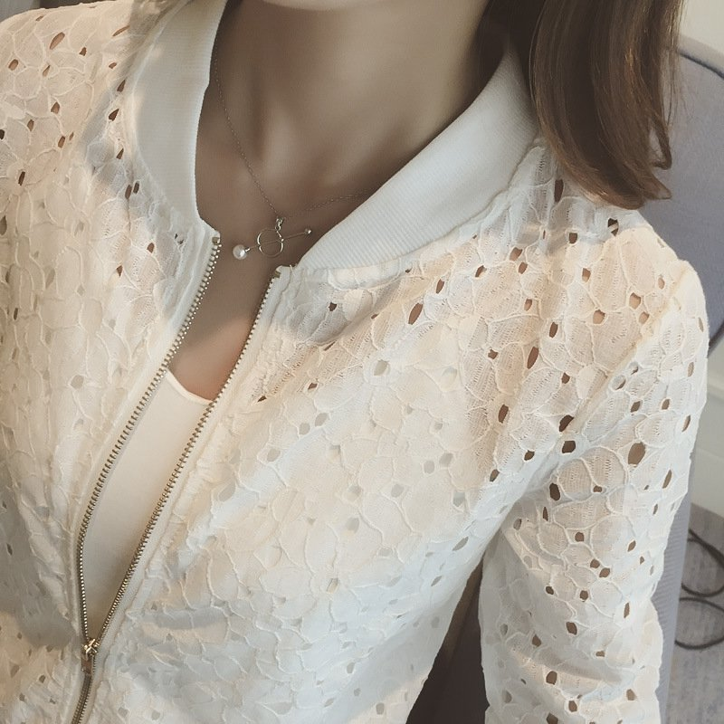 Women\'s Summer Thin Jacket 2019 White Lace Long Sleeve Sunscreen Women Clothing Hollow Out Breathable Bomber Jacket