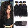 Soft 10A Indian Virgin Hair With Closure Raw Indian Curly Hair 3 Bundles And Closure Kinky Curly Three Part Closure With Bundles