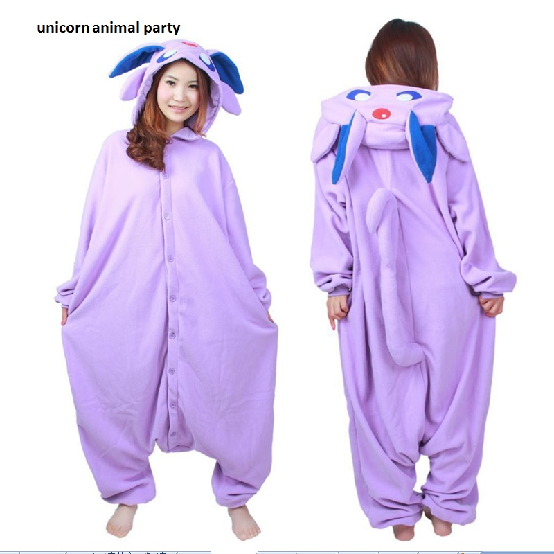 Halloween Kigurumi Anime Purple Espeon Onesie Cosplay Costume Unisex Cartoon Umbreon Pajamas Party մեծահասակների կանանց համար