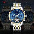Новые модные синие мужские часы Tourbillon многофункциональные механические часы 316L Сталь Календарь наручные часы Неделя дисплей Relogios