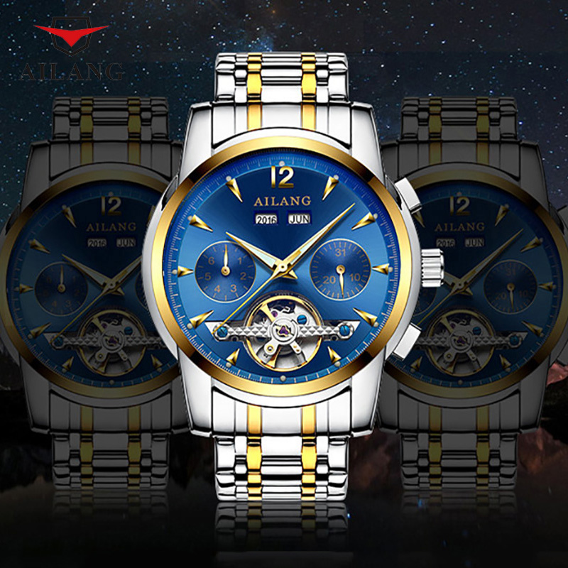 цена на AILANG Male Trendy Mechanical Wristwatches Adjust Months Invisible Button Waterproof Shock Resistant Calendar Setting Week A056