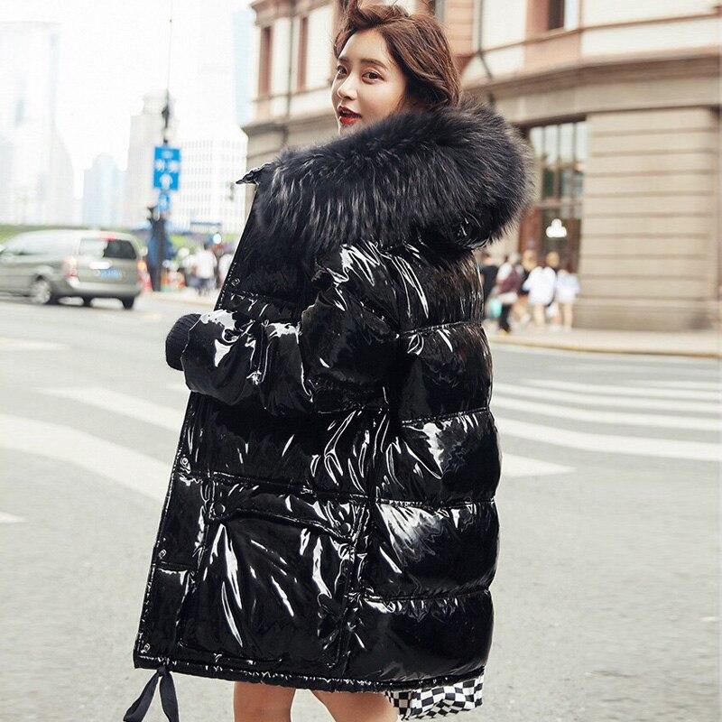 Real pele natural 2019 jaqueta de inverno couro patente mulheres engrossar longo para baixo parka com capuz feminino pato para baixo casaco à prova dwaterproof água