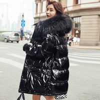 Real Natural Fur 2019 Patent Leather Winter Jacket Women Thicken Long Down Parka Hooded Female Duck Down Coat Waterproof Jacket