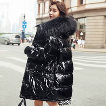 Real Natural Fur 2019 Patent Leather Winter Jacket Women Thicken Long Down Parka