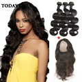 10A Grade Brazilian Virgin Hair Body Wave With Closure 360 Lace Frontal With Bundle Pre Plucked Human Hair Bundles With Closure