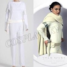 Star Wars Padme Amidala Cosplay Costume White Shirt Pants Halloween Outfit Autumn Woman Sets