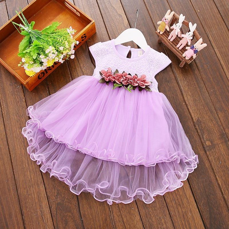 Cute Baby Girls Summer Floral Dress Princess Party Tulle Flower Dresses Toddler Infant Girls Mesh Tutu Dress 0-3Y Clothing 4