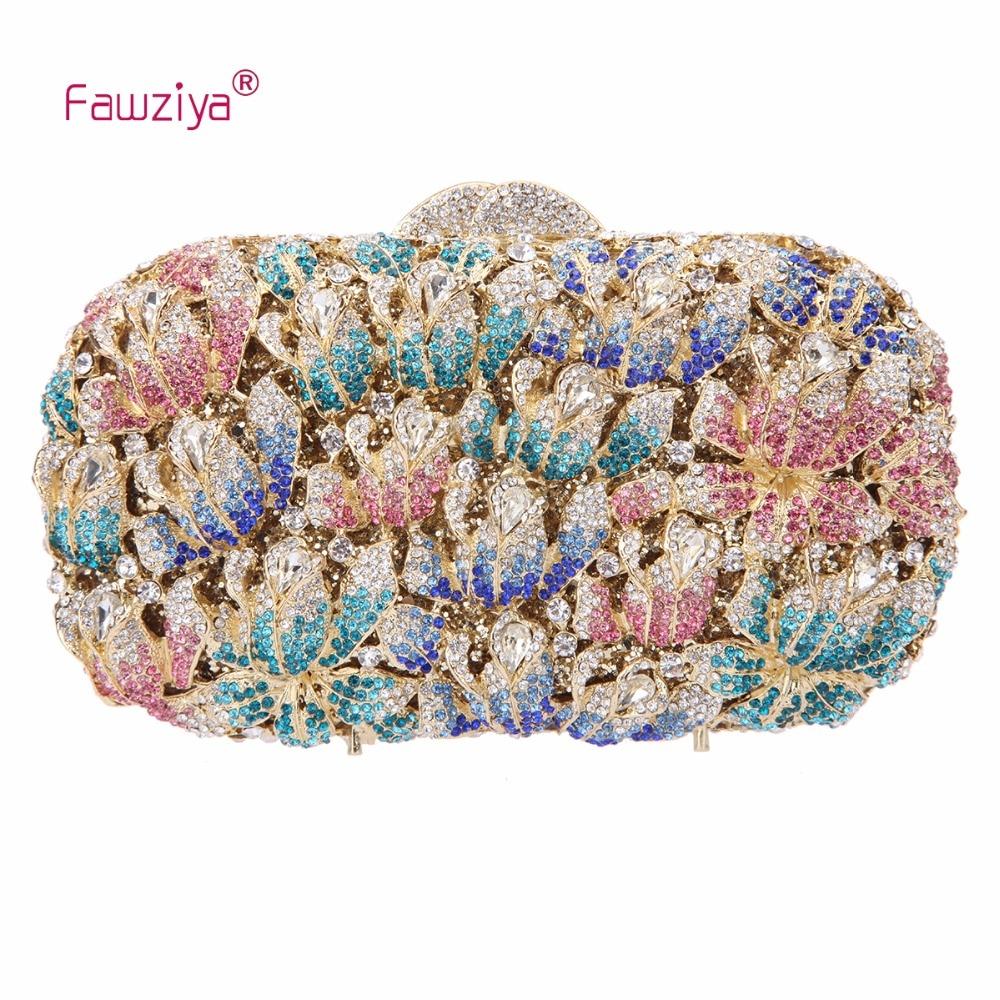 Fawziya Clutches Evening Rose Clutch Handbags For Wedding Bags For Women's Rhinestone Clutches