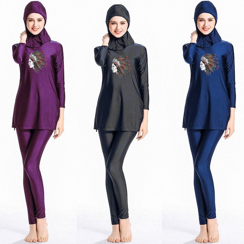3pcs Womens Full Cover Long Muslim Swimwears Islamic Swimsuits Ladies Arab Islam Beach Wear Modest Hijab Surf Swimming