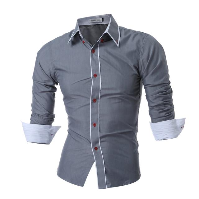 online store e7e31 5514e US $10.43 5% di SCONTO QINGYU 2018 Nuovo Mens Maniche Lunghe Camicie Uomo  Doppio Colletto Button Design Unico Slim Fit Camice di Marca Camicie ...