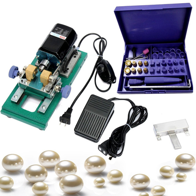 220V 280W 60Hz Pearl Drilling Holing Machine Driller Bead Jewelry Punch Engraving Engraver Machine Tool Full Set 5