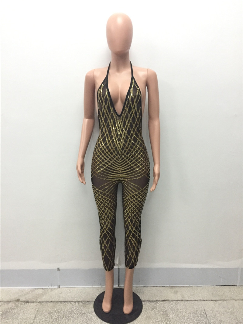 8c89040dc300 Sexy Stretch Backless Black Gold Sequin Jumpsuits Summer V Neck Halter  Skinny Mesh See Through Sleeveless Rompers Clubwear-in Jumpsuits from  Women s ...
