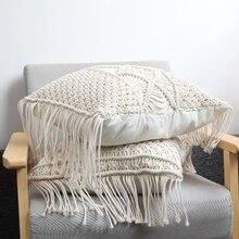 Poduszka poszewka na poduszkę 45cm x 45cm ręcznie tkana nić bawełniana pościel do dekoracji domu i samochodu dekoracja sofy Bohemia poszewka