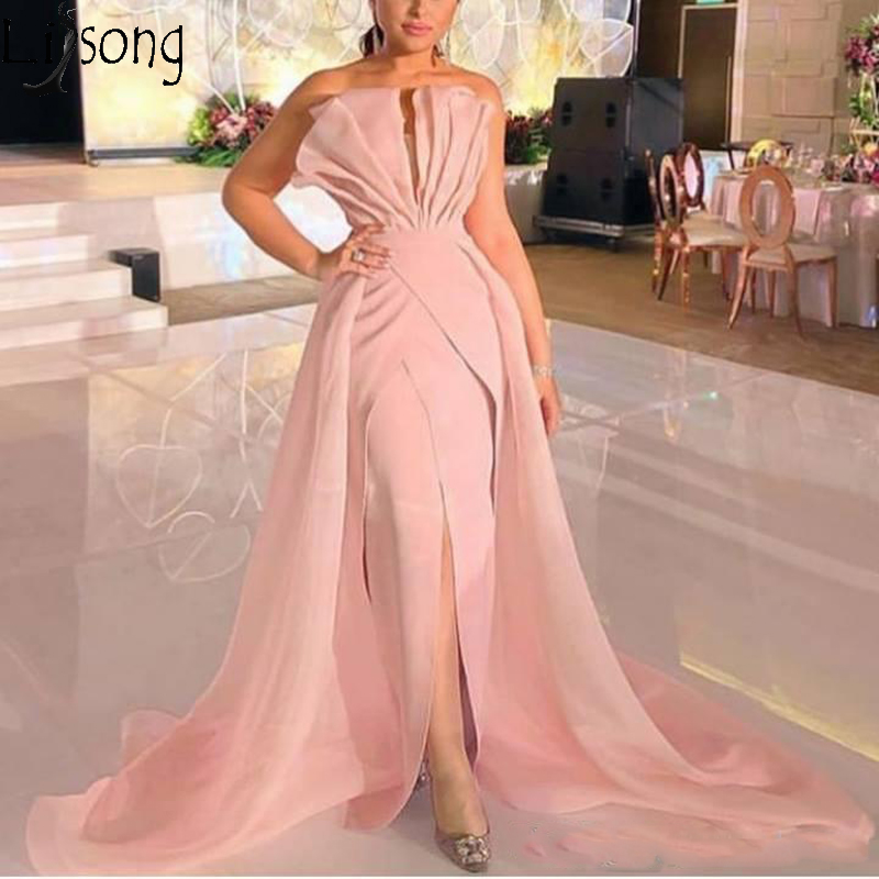 2019 Sexy Pink Strapless Satin Mermaid Long Prom Dresses Ruffles Sweep Train Front Slit Evening Dress African Formal Party Gown