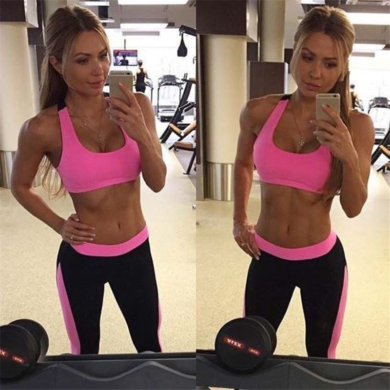 Women Yoga Sets Gym Elastic Running Sport Suit Fitness Clothing Workout Sport Wear Sports Bra+Pant Yoga Suit Two Piece Sets