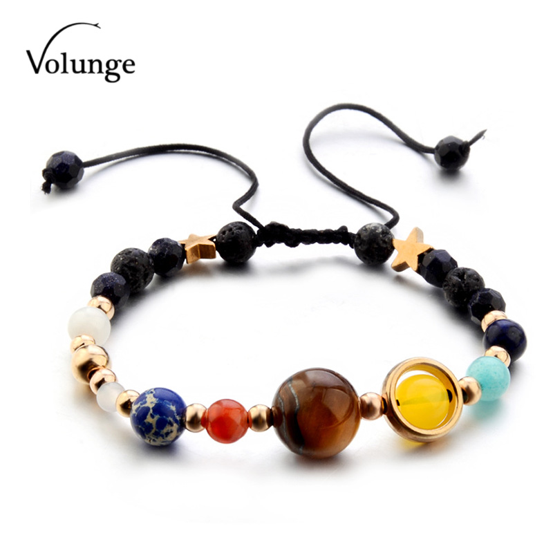Volunge 2018 Guardian Star Natural Stone Hand-made Rope Bracelet Milky Way Solar System Eight Planets Bracelet For Women Gift