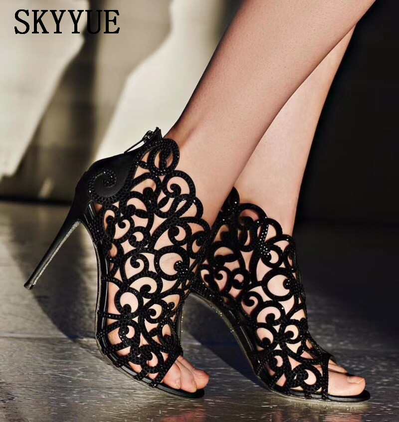2018 New Genuine Leather Satin Crystal Beading Cutout Women HIgh Heel Sandals Sexy Open Toe Women Sandal Boots Shoes Women genuine leather women sandals rural sweet style women shoes butterfly beading crystal wedges shoes high heel sandals dress shoes