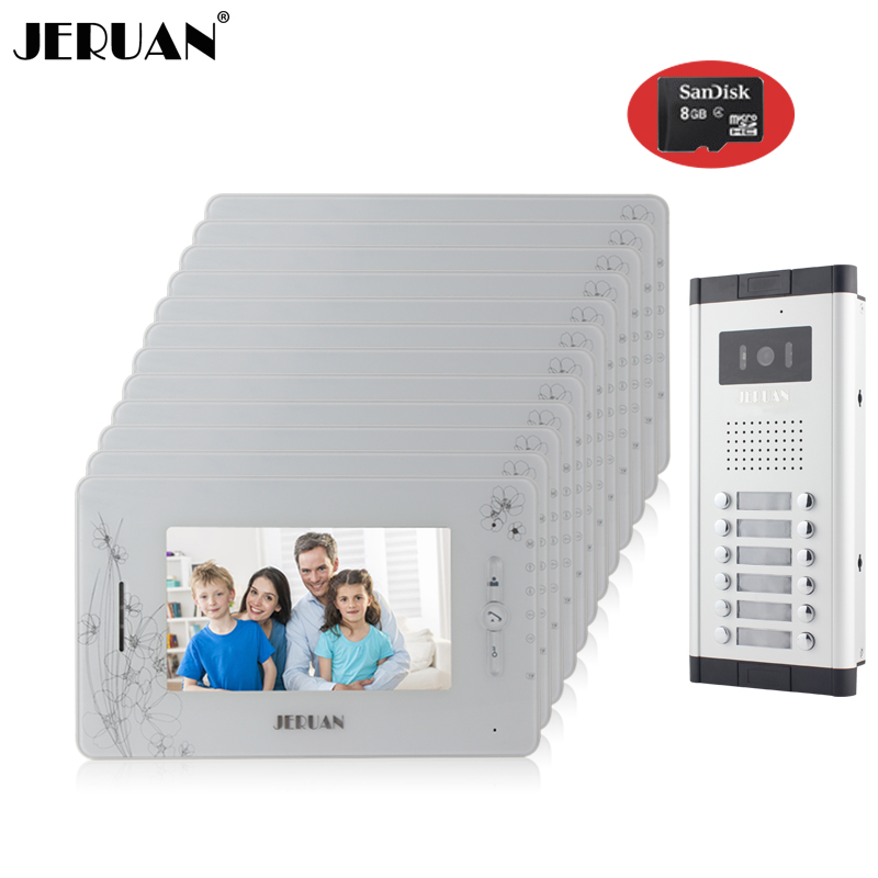 JERUAN Brand New Apartment Intercom 7`` LCD Video Door Phone Doorbell intercom System for 12 house 1V12+8GB card+free shipping new apartment doorbell intercom 7 lcd touch key video door phone intercom system 1camera 10 monitors for 10 house free shipping