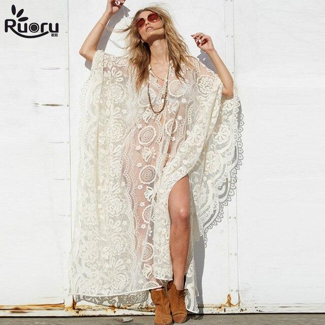 Ruoru Tunics Women Big Size Sexy See Through Blouses Shirt Floor Length Hollow Out Lace Crochet Maxi Kimono Cardigan Beach