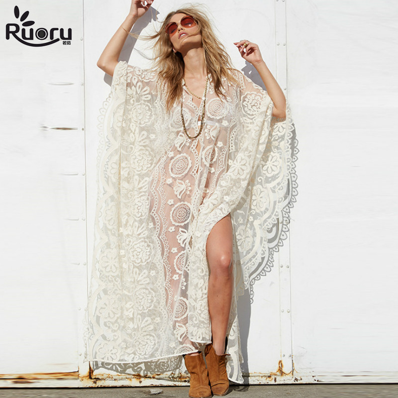 Ruoru Tunics Women Big Size Sexy See Through   Blouses     Shirt   Floor Length Hollow Out Lace Crochet Maxi Kimono Cardigan Beach