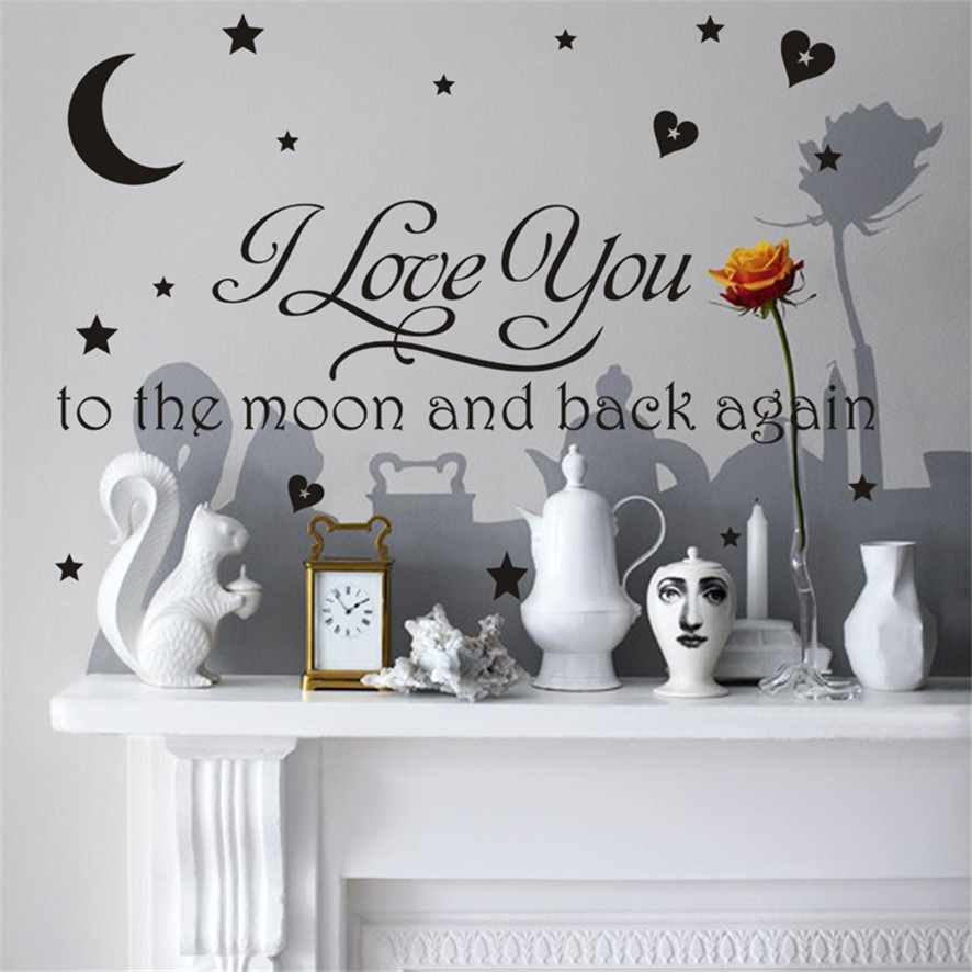 Wallpaper Sticker I Love You To Moon And Back Again Wall Sticker Art Home Kitchen Decor Purchasing Wallpapers For Living Room B#