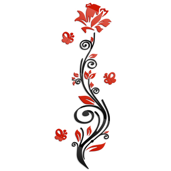 Rose flower entranceway tv background wall modern decoration crystal 3d three-dimensional Mirror wall stickers sofa painting red 7