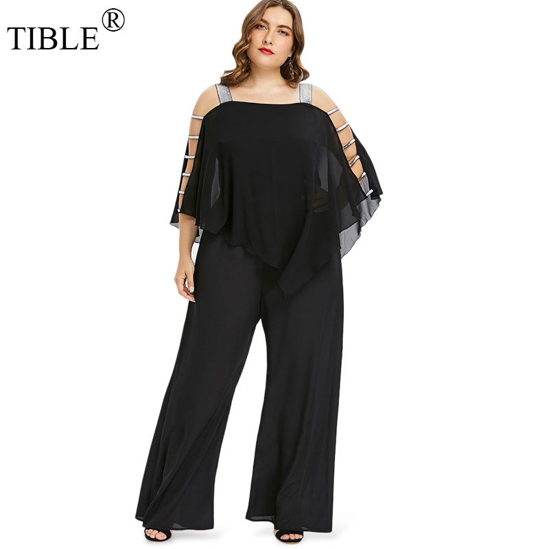 TIBLE Plus Size Jumpsuit Women 2018 New Ladder Cut Out Capelet Jumpsuit Big Size Clothing Elegant Solid Casual Full Length