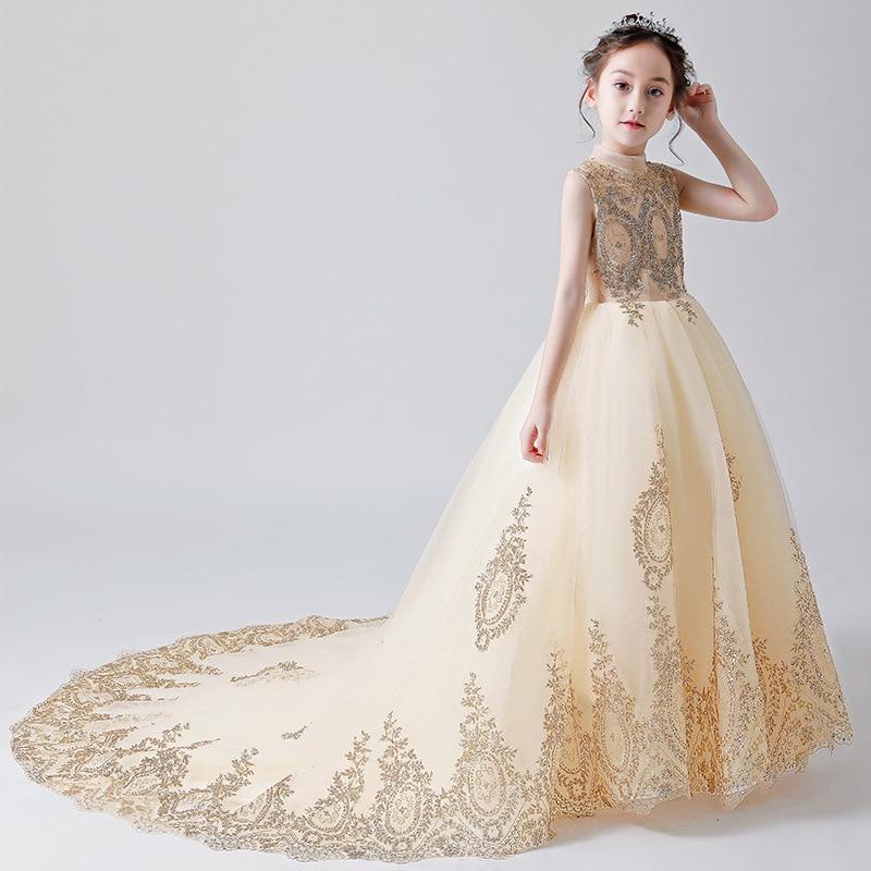 Gorgeous Chapel Train Junior Bridesmaid Girl Dress Children Gold Wire Celebration Birthday Evening Performance Show Party