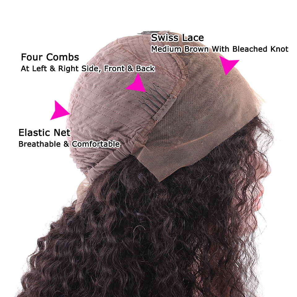 YVONNE Malaysian Curly Virgin Human Hair Lace Front Paryk För Svart - Mänskligt hår (svart) - Foto 5