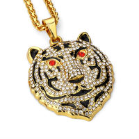 Hip Hop Iced Out Bear Head Crystal Pendant Necklace Gold Chain Statement Necklace Europe Street Animal