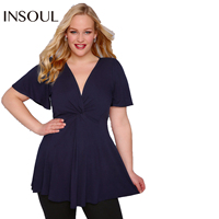 INSOUL 2017 Plus Size Women Clothing Short Sleeves Sexy Deep V Neck Casual Shirts Solid Color