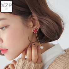 XZP Women Jewelry Earring Romantic Fashion Heartly Eardrop Earrings for Lovers Valentines Day Best Gift Red Heart Star