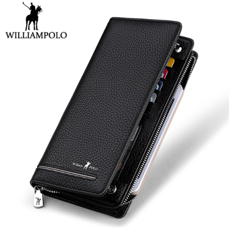 WILLIAM POLO brand wallet men Long Genuine Leather Purse Card Holder Phone male Business Zippered Clutch Wallet Gift Box men s purse long genuine leather clutch wallet travel passport holder id card bag fashion male phone business handbag