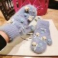 De Invierno de corea del Pequeño Oso de Dibujos Animados de Conejo de Pelo Incluso Dedo Guante Mujer Corea Puerta Este Producto Arco Encantador Mantener Caliente de piel