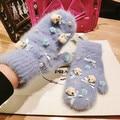 Korean Winter Little Bear Cartoon Rabbit's Hair Even Finger Glove Woman Korea East Gate Lovely Keep Warm Product Bow  fur