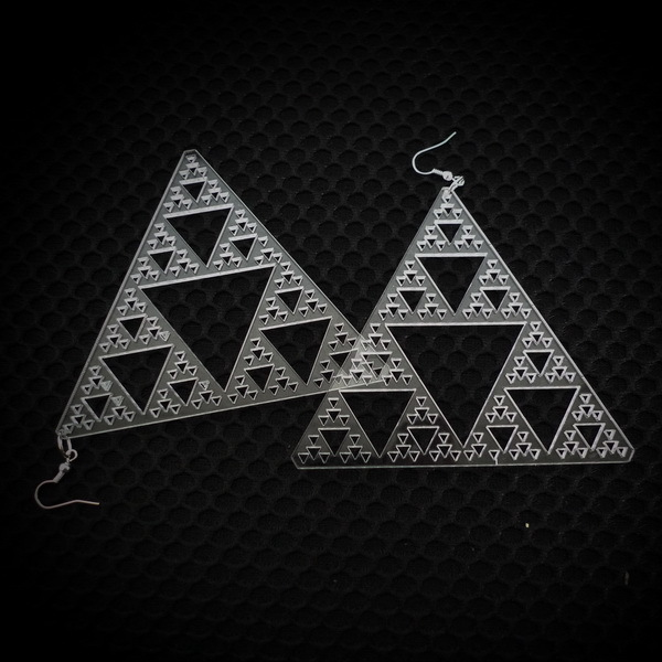 187E  Stage Girl  Exaggerate Acrylic Triangles  Earrings