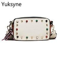 Double Layer Zipper Women Design Handbags Leather Small Rivets Color Stone Decoration Korea Women Shoulder Bag